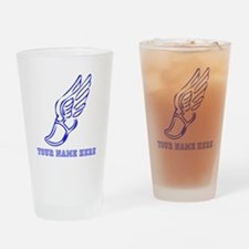 Custom Blue Running Shoe With Wings Drinking Glass