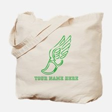 Custom Green Running Shoe With Wings Tote Bag