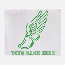 Custom Green Running Shoe With Wings Throw Blanket