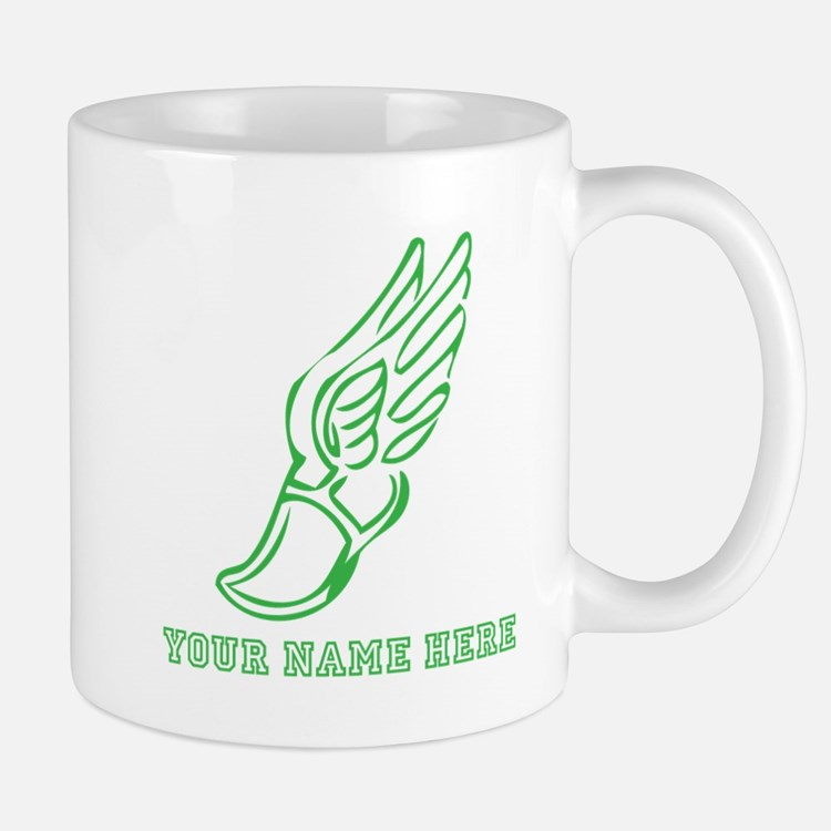 Custom Green Running Shoe With Wings Mugs