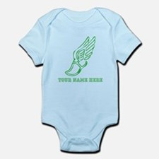 Custom Green Running Shoe With Wings Body Suit