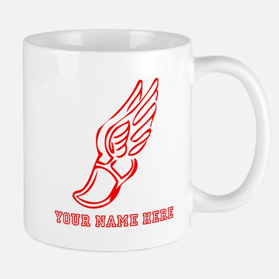 Custom Red Running Shoe With Wings Mugs