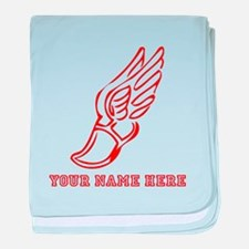 Custom Red Running Shoe With Wings baby blanket