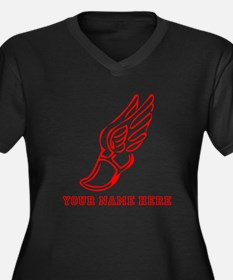 Custom Red Running Shoe With Wings Plus Size T-Shi