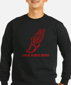 Custom Red Running Shoe With Wings Long Sleeve T-S