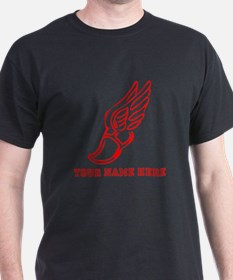 Custom Red Running Shoe With Wings T-Shirt
