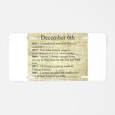 December 6th Aluminum License Plate