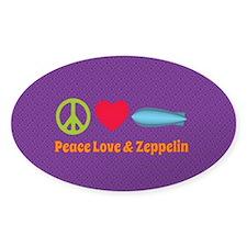Peace Love & Zeppelin Sticker (oval 10 Pk)
