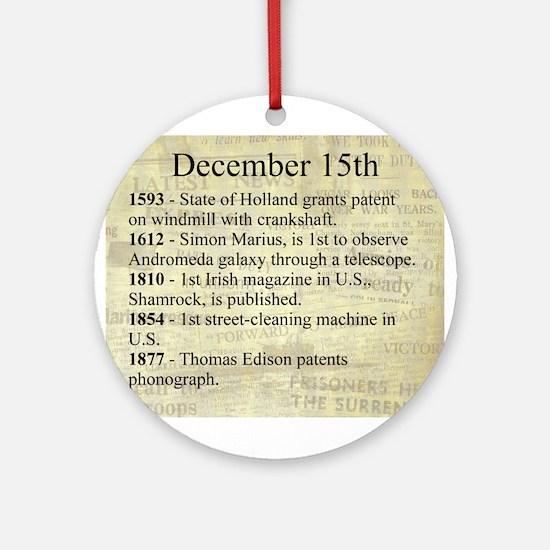 December 15th Ornament (Round)