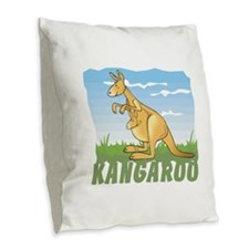 Kid Friendly Kangaroo Burlap Throw Pillow