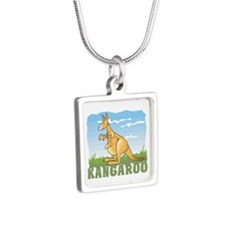 Kid Friendly Kangaroo Silver Square Necklace