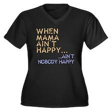Mama ain't happy Women's Plus Size V-Neck Dark T-S