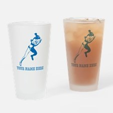 Custom Blue Woman Sprinter Drinking Glass