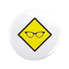 """Nerd glasses on a yellow sign 3.5"""" Button"""