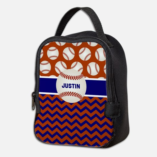 Baseball Blue Red Personalized Neoprene Lunch Bag