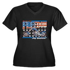 Define Freed Women's Plus Size V-Neck Dark T-Shirt