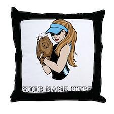 Custom Softball Pitcher Throw Pillow