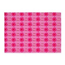 I Love Jesus (flowers) Pink Rug 5'x7'Area Rug