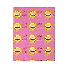 I Love God (suns) Pink Twin Duvet