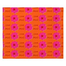 I Love Jesus (flowers) Orange King Duvet