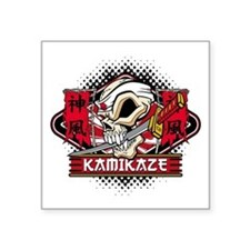 "Kamikaze Skull Square Sticker 3"" x 3"""