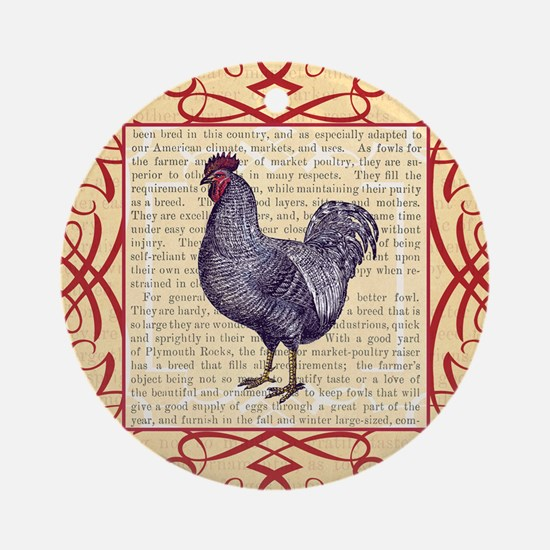 Vintage Plymouth Rock Chicken / Roo Round Ornament