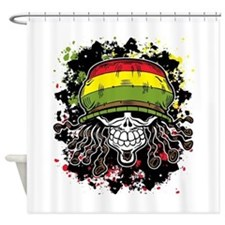 Jamaican Rasta Skull Shower Curtain