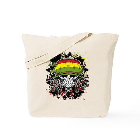 Jamaican Rasta Skull Tote Bag