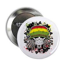 """Jamaican Rasta Skull 2.25"""" Button"""