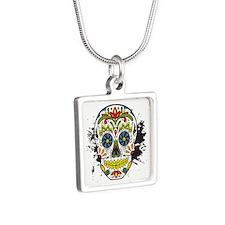 Día de los Muertos Skull Silver Square Necklace