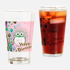 birthday owl pink Drinking Glass
