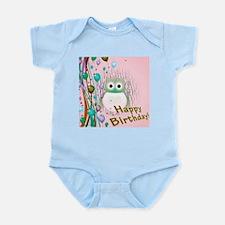 birthday owl pink Body Suit