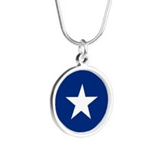 Bonnie Blue Flag Round Silver Round Necklace