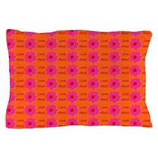 I Love Jesus (flowers) Orange Pillow Case