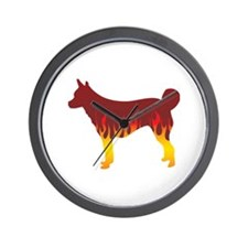 Lundehund Flames Wall Clock