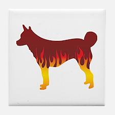 Lundehund Flames Tile Coaster