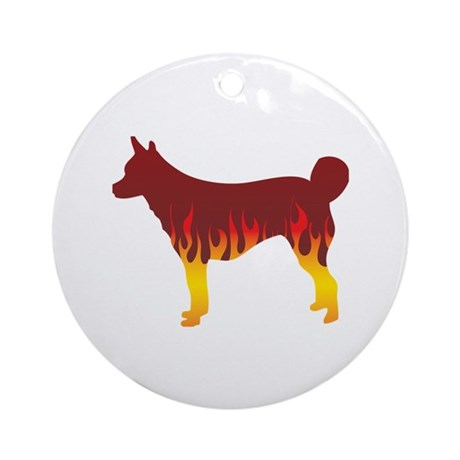 Lundehund Flames Ornament (Round)