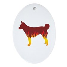 Lundehund Flames Oval Ornament