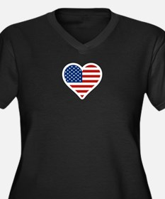 US Flag Heart Plus Size T-Shirt