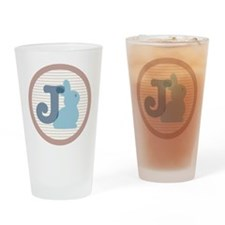 Letter J with cute bunny Drinking Glass