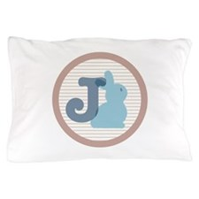 Letter J with cute bunny Pillow Case