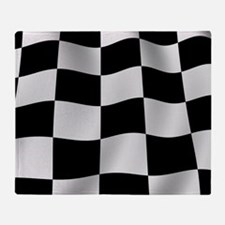 Black Racing Flag Checkerboard Throw Blanket
