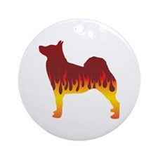 Buhund Flames Ornament (Round)