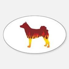 Norrbottenspets Flames Oval Decal