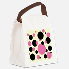 Bubble gum pink and black polkadots Canvas Lunch B