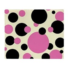 Bubble gum pink and black polkadots Throw Blanket