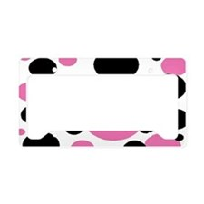 Bubble gum pink and black polkadots License Plate