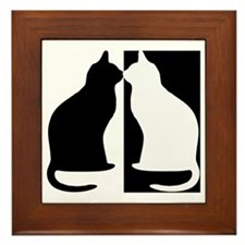Black And White Cats Framed Tile