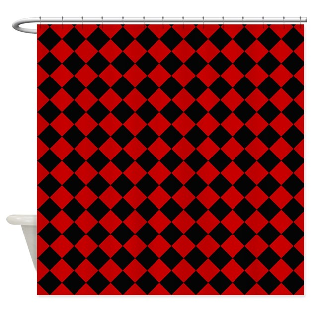 Red And Black Diamond Checkered Shower Curtain By Crazyshowercurtains