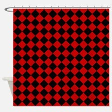 Red and Black Diamond Checkered Shower Curtain